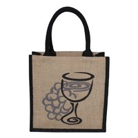 PP Laminated Jute Tote Bag With Two Color Logo Print
