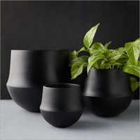 Black Ceramic Flower Pot