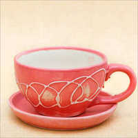 Embossed Cup Shape Round Ceramic Flower Pot with Plate