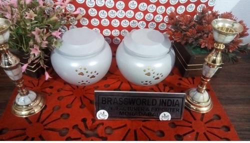 Brass White Odyssey Pet Paw Urn Funeral Supplies