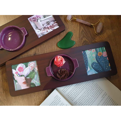 Lavender Colour Wooden Platter For Ceramic Bowl