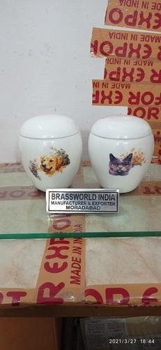 BRASS DOG AND CAT WHITE BOX PRINTED URN