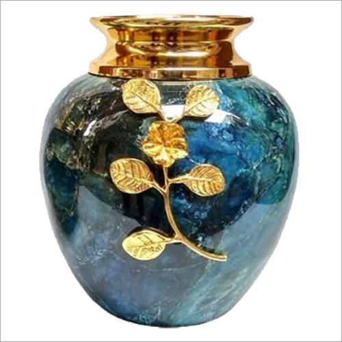 Blue Printed Copper Flower Vase