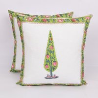 Floral Block Printed Cotton Cushion Cover