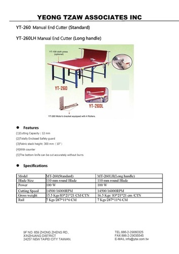 YT-260 Serise Manual End Cutter