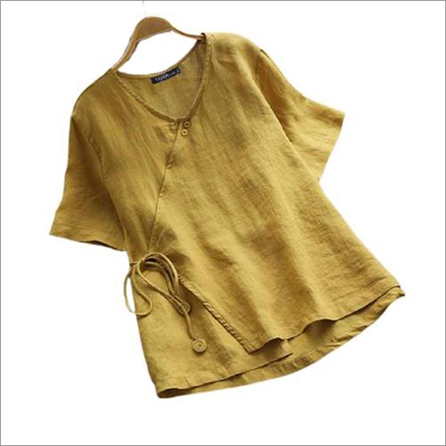 Ladies Yellow Round Neck Kedia Top
