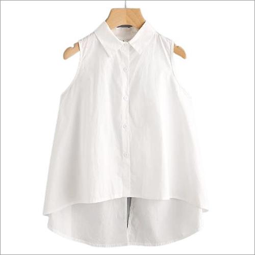 Ladies Woven Cotton Crop Blouse Top