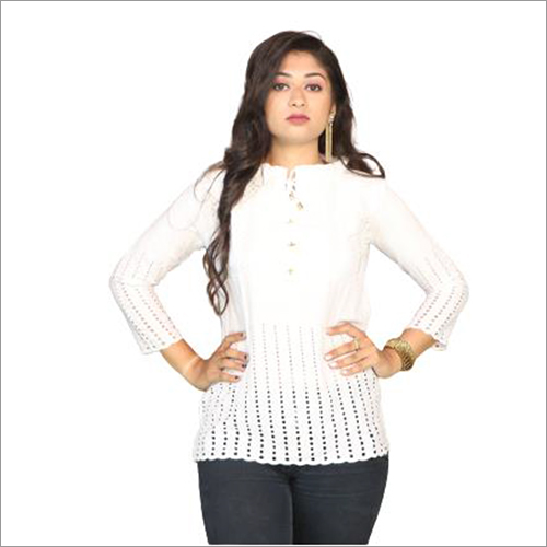 Ladies Chikan Cotton Top