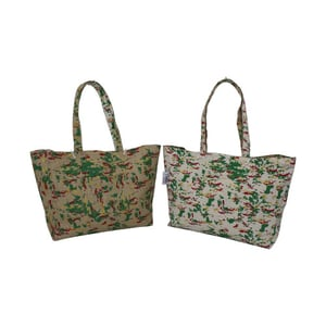 Jute And Cotton Fabric Reversible Tote Bag