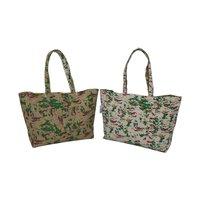 Jute & Cotton Fabric Reversible Tote Bag