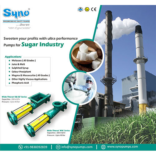 Sugar Industry Molasses Magma Pumps Syno Progressive Cavity Pump