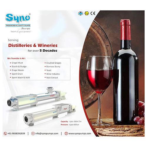 Wine And Distillery Pump Syno Progressive Cavity Pump