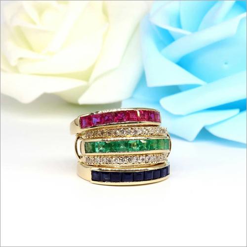 14K Gold  Natural Emerald Ring