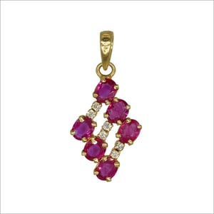 18K Gold Handmade Pendant With Natural Ruby and Diamond