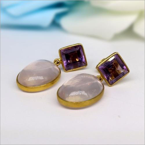 18K Gold Natural Amethyst with Rose Quartz Handmade Earring