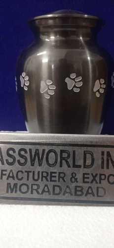 Brass Pet Paw Printed Black Urn Funeral Supplies
