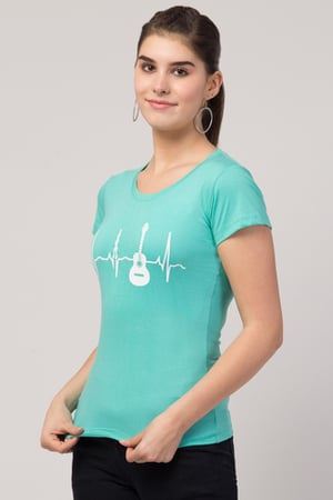 Ladies Guitar Sea Green T-shirt for Girls & Women