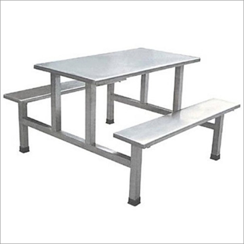 SS Canteen Dining Table with Attached Bench