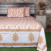 Jaipuri Hand Block Printed Cotton  Bedsheet