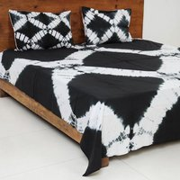 Black White Dyed Handmade Cotton Bedsheet