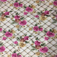 Cream Floral Printed Jute Fabric