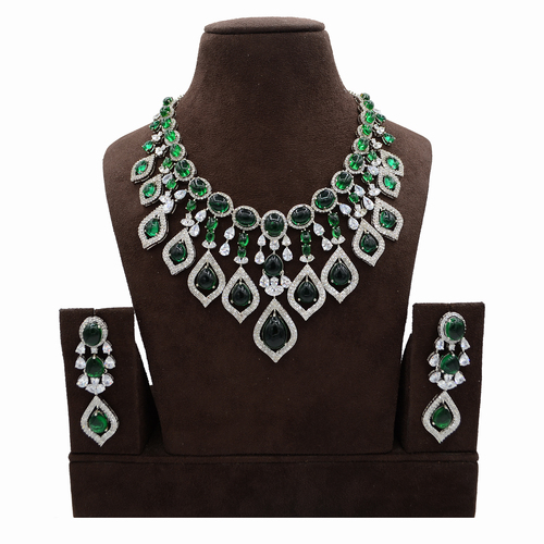 American Diamond Necklace Set with Emerald color Stone