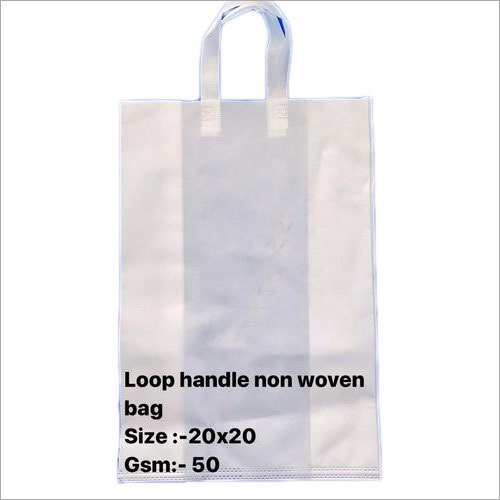 50 GSM 20 x 20 Inch White Non Woven Loop Handle Bag
