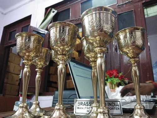 Brass Chalice Antique Engraved With Paten Church Supplies