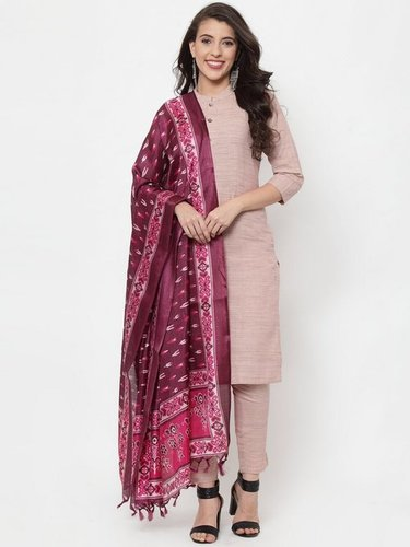 Pink solid kurta with trousers and dupatta