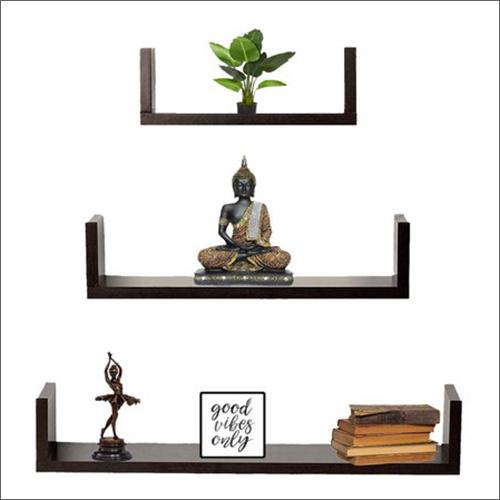U Floating Shape Wooden Wall Shelves