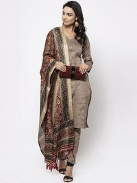 Grey striped kurta with trousers and dupatta