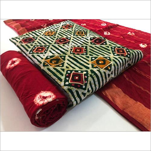 Heavy Cotton Orginal Gold Wax Batik With Cotton Duppata
