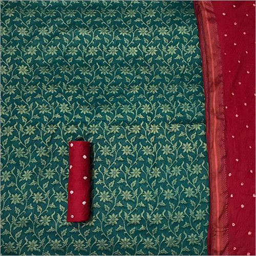 Premium Full Banarasi Gold Weaving Pure Cotton Bandhani Salwar Suit