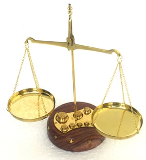 Nautical Brass Wooden Weight Scale