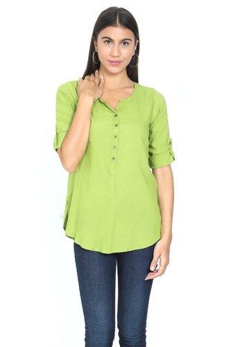 Pista Green Rayon Tops