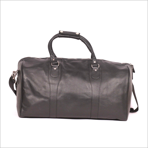 Black Color Holdall Leather Bag