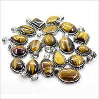 Silver Plated Gemstone Pendant Lot