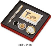 4 pcs Promotional Gift Set (Premium Keychain, Pen, Paper Weight Clock & Business card Holder)