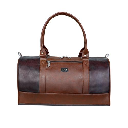 Brown Leatherette Duffle Bag