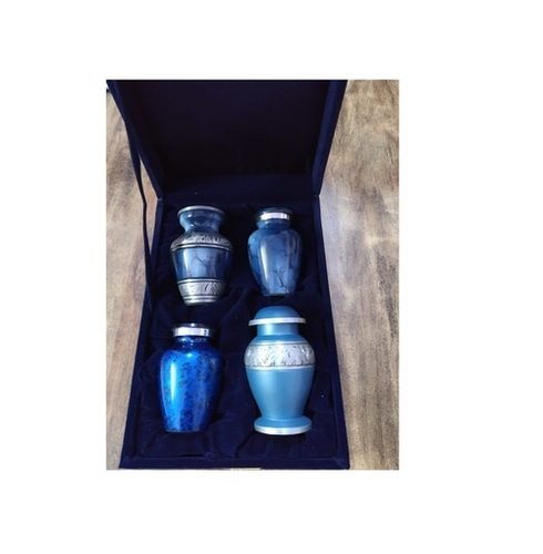 Brass Different Types Of Blue Keepsake Urn Funeral Supplies
