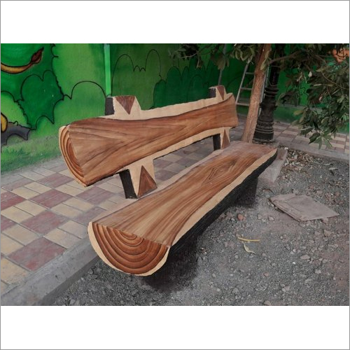 Wooden Finish Concrete Bench