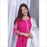 Rayon Fabric Gown And Duppata
