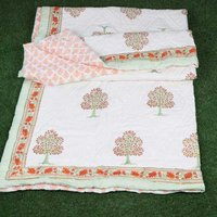 Block Printed Cotton Kantha Quilt