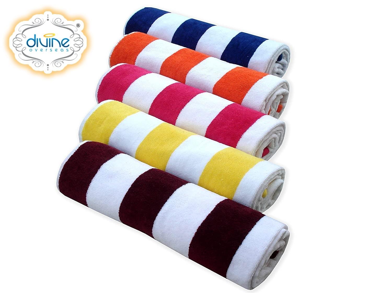 Divine Overseas Cotton Velour Bath Towel - Cabana Stripes