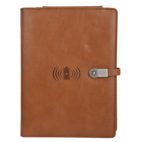 Folder with 8000 mAh Power Bank and phone Stand 16 GB USB and Wireless Charger