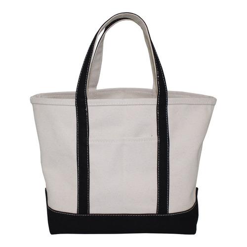Black Trimmed Handle 20 Oz Natural Canvas Boat Bag