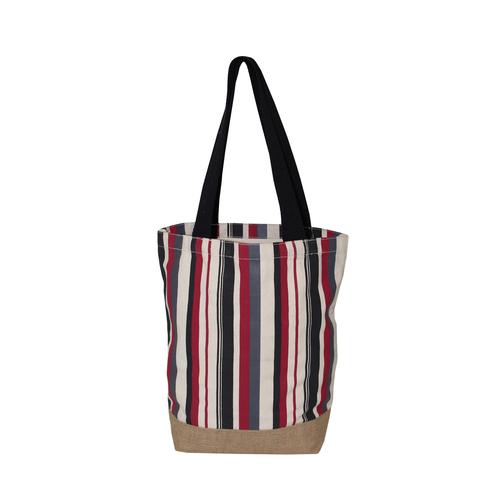 Allover Multi Color Stripe Print 12 OZ Natural Canvas Tote Bag
