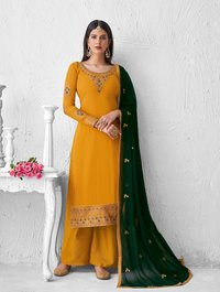 Georgette with Chain Stitch Embroidery Palazzo Suit