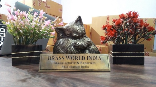 BRASS BLACK CAT WITH BALL SITTING CREMATION URN FOR PET ASHES