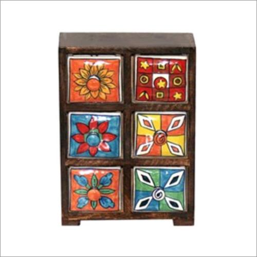7.75x3.125x11.75 Inch High Ceramic Drawer Chest